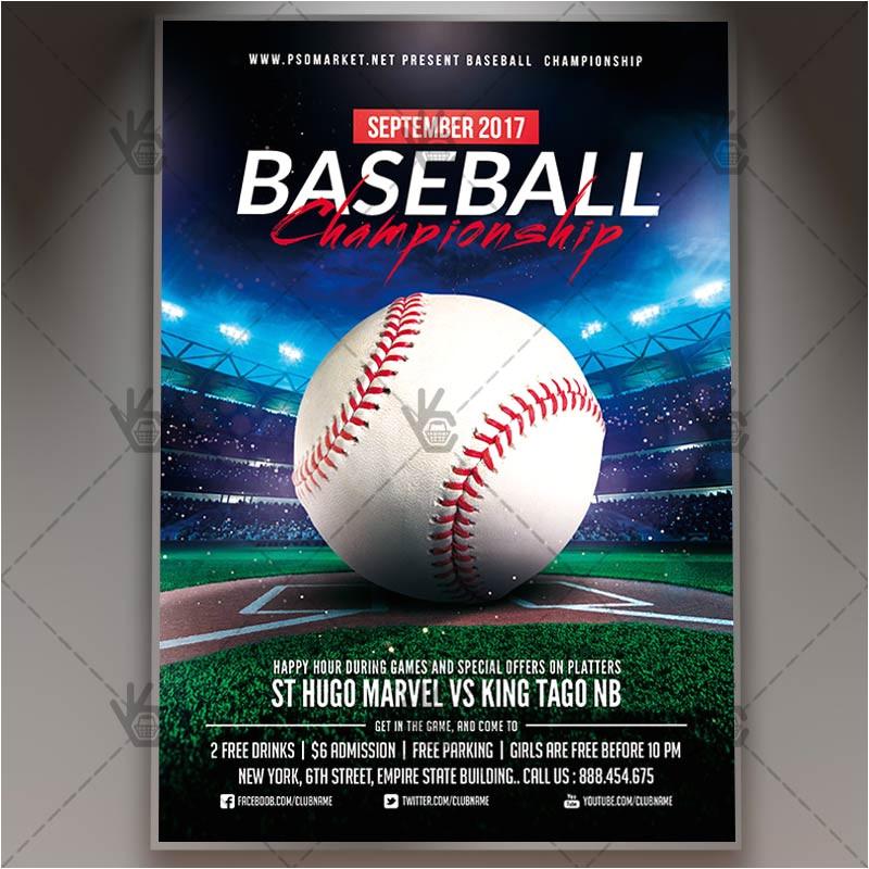 baseball championship premium flyer psd template