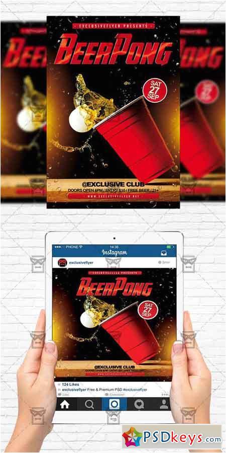 54559 beer pong championship flyer templateinstagram size flyer