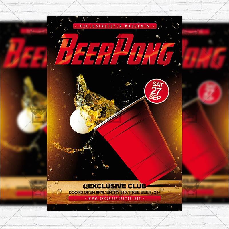 beer pong premium flyer template facebook cover