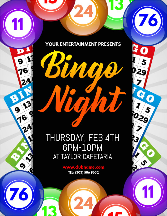 bingo night flyer design template