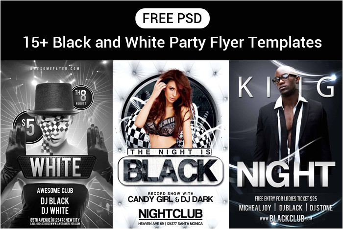 free black white party flyer psd templates