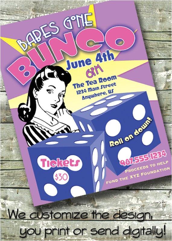bunco game night fundraiser retro 5x7