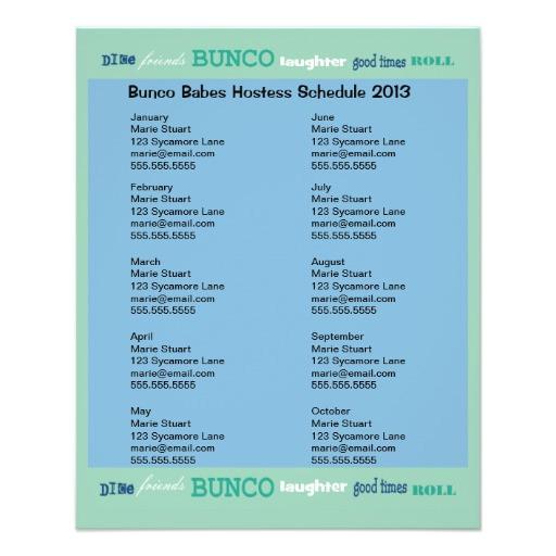 bunco subway hosting calendar personalized flyer 244971088073211795