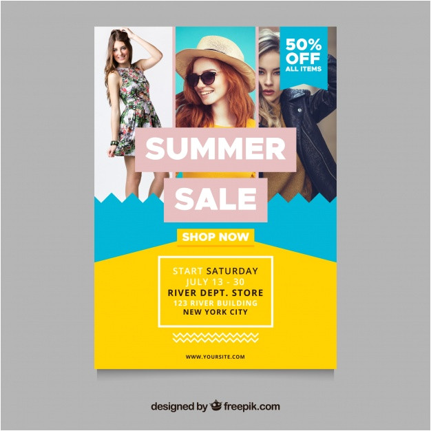 summer sale flyer template with fashion concept image 2216495