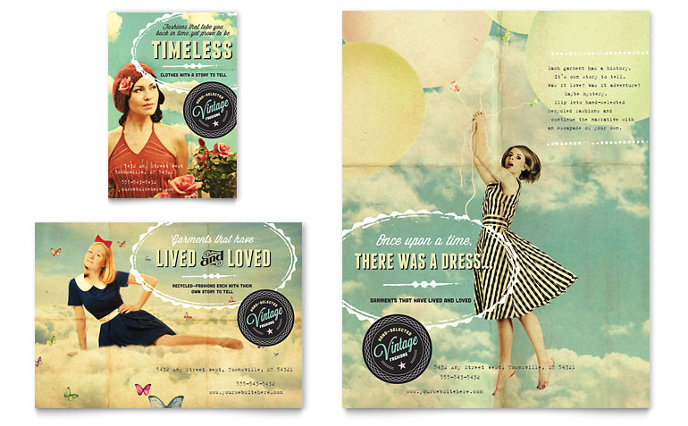 vintage clothing flyer ad templates rt0070701d