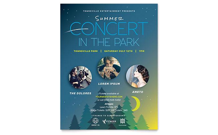 summer concert flyer templates ma0111501d