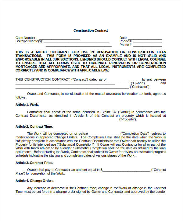 Free Construction Contract Template Construction Contract Template 14 Word Pdf Apple