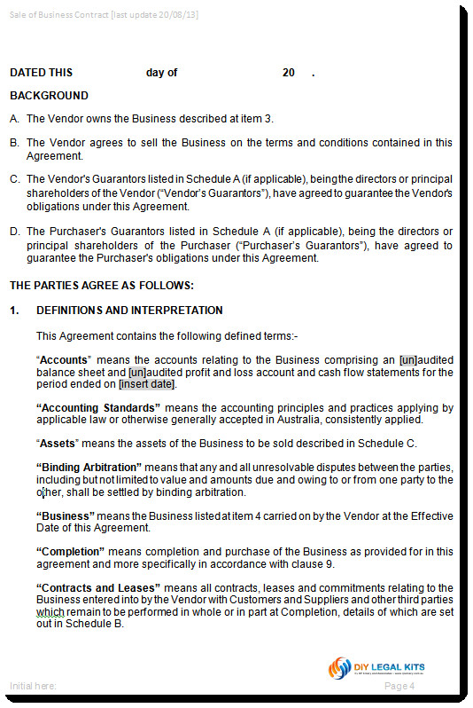 agreement for sale of business