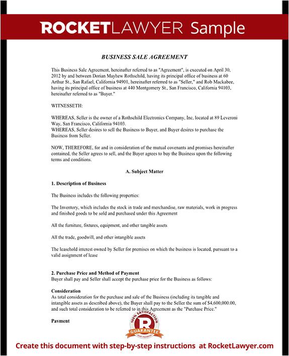 business sale agreement rl