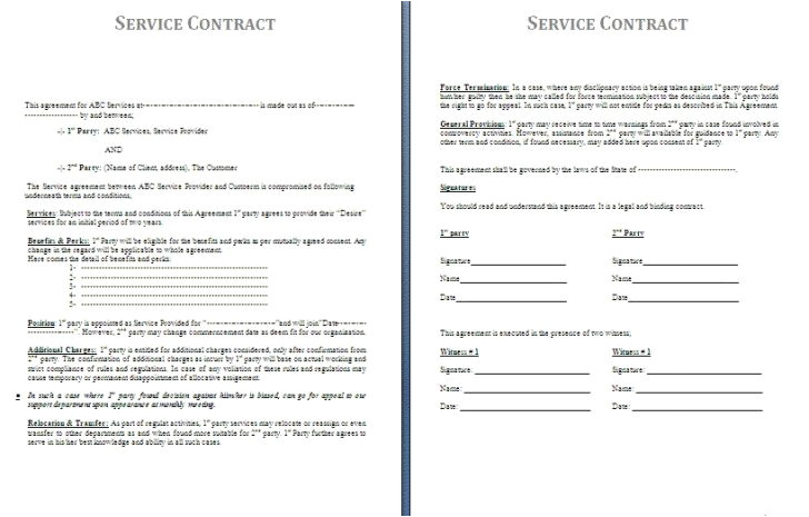 11 contract for services rendered