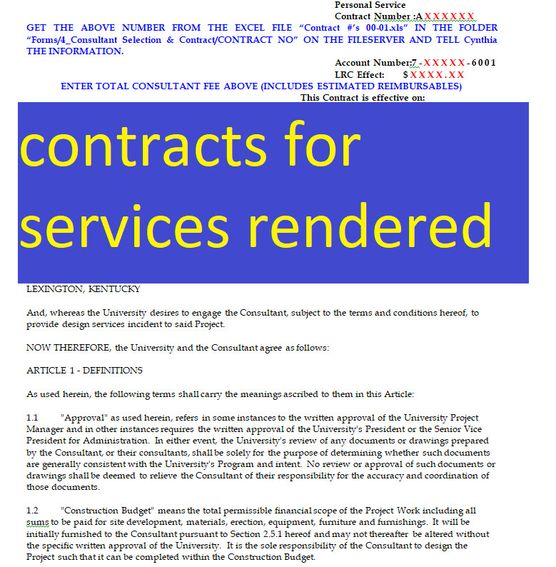 free contracts for services rendered