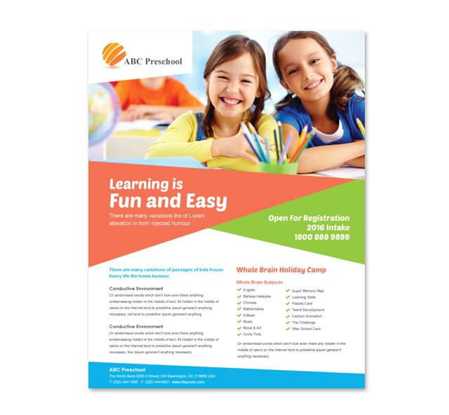 preschool education flyer template 2