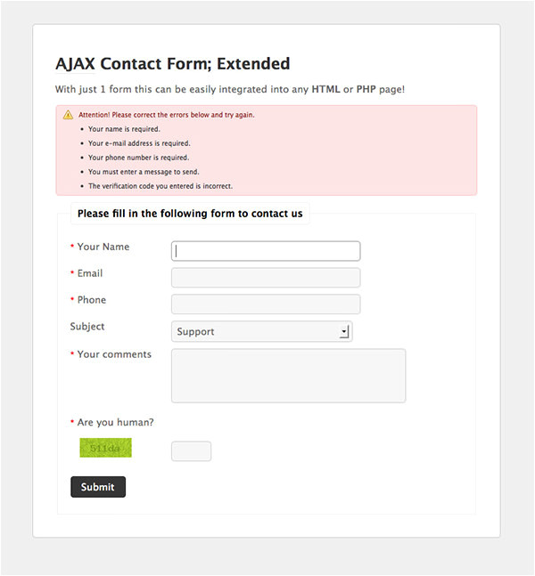 php contact form templates