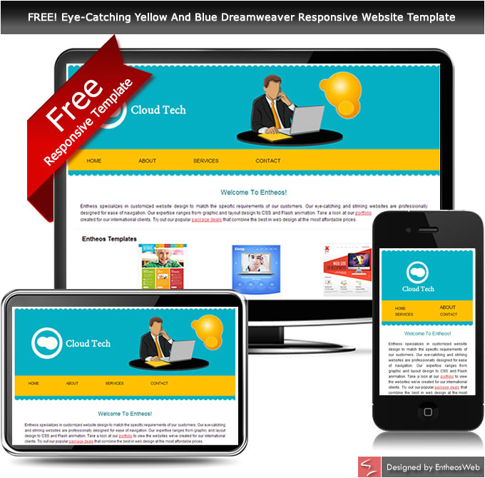 free eye catching yellow and blue dreamweaver responsive website template