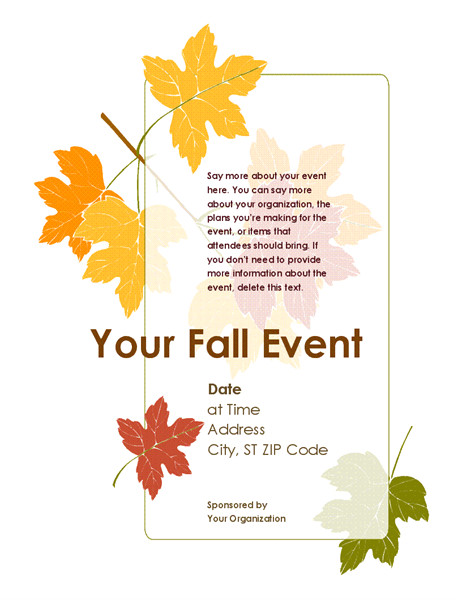 fall event flyer with leaves tm03464383