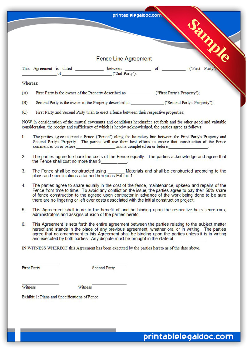 Free Fence Contract Template Free Printable Fence Line Agreement form Generic