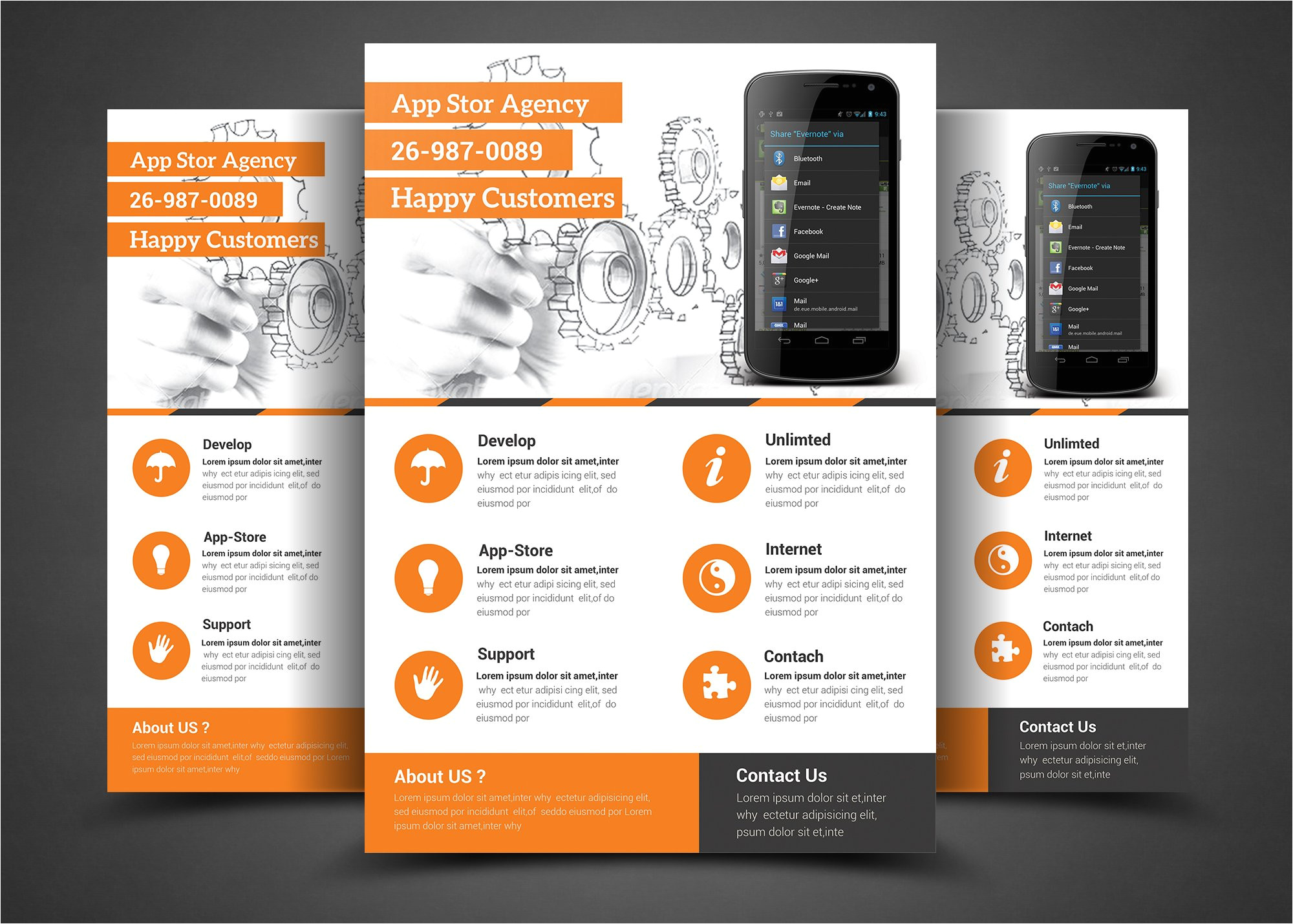 299662 mobile app flyer print template