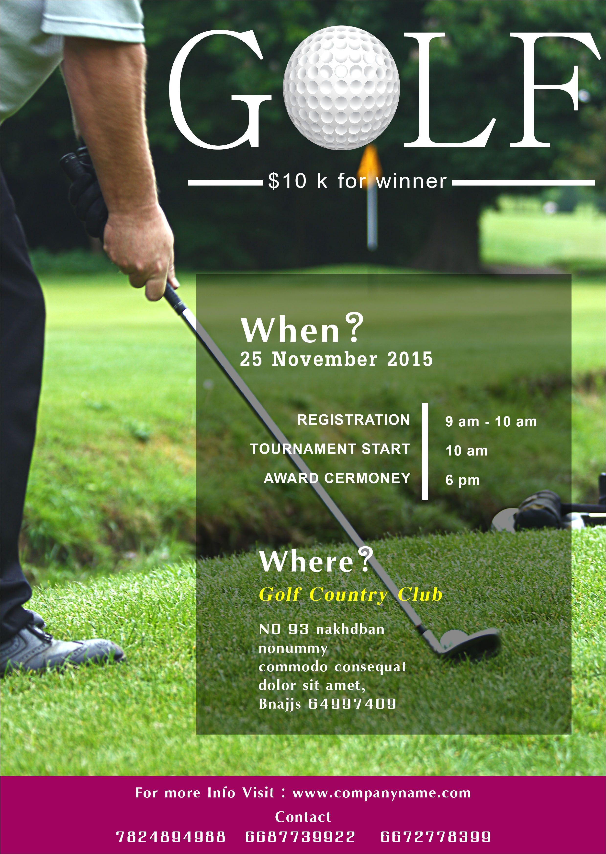 Free Golf tournament Flyer Template Golf tournament Flyer Template Free 15 Free Golf