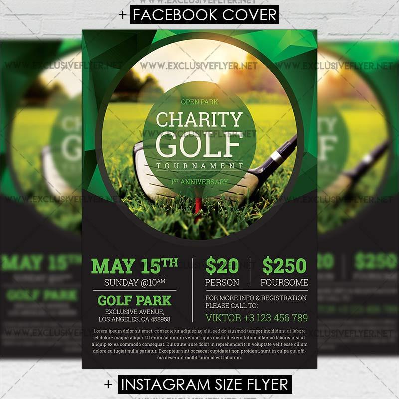 golf tournament premium a5 flyer template