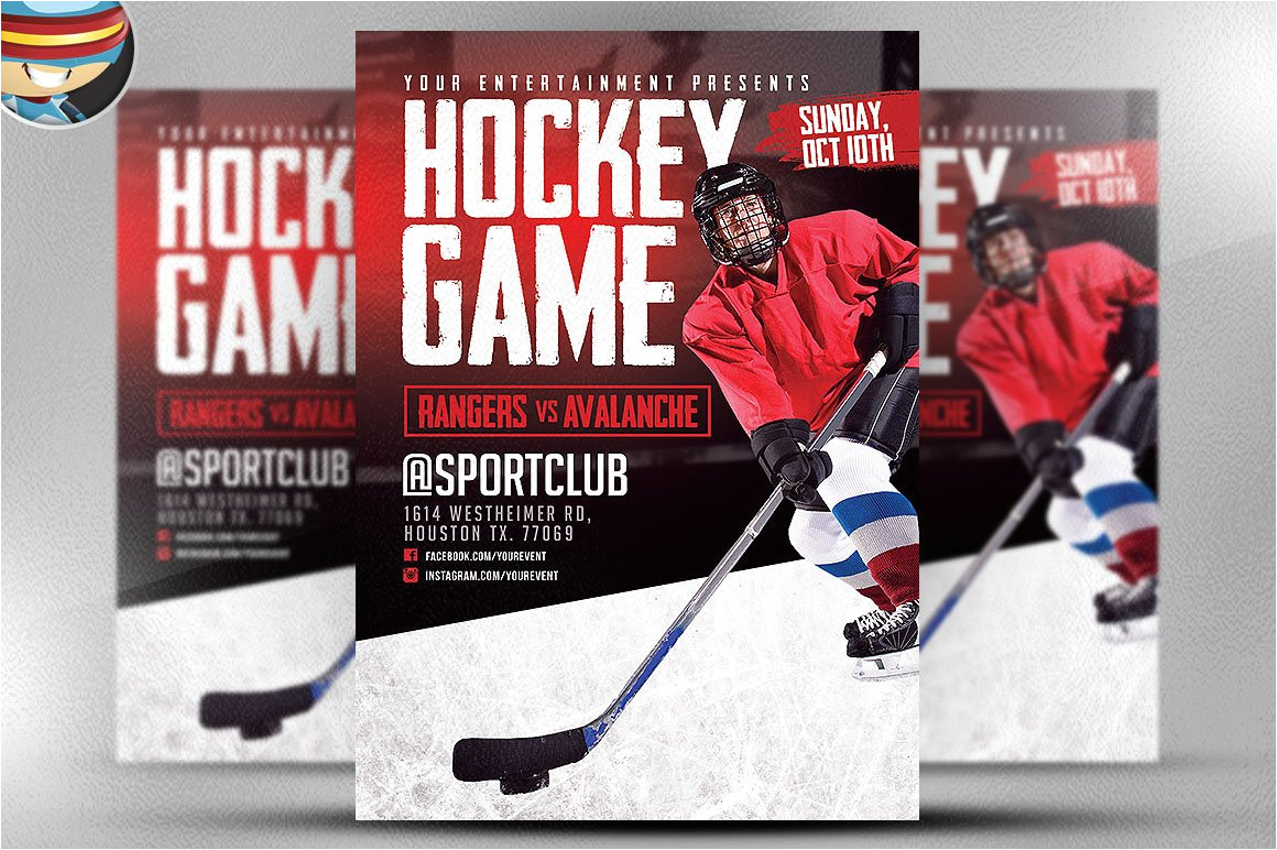 584408 hockey game flyer template
