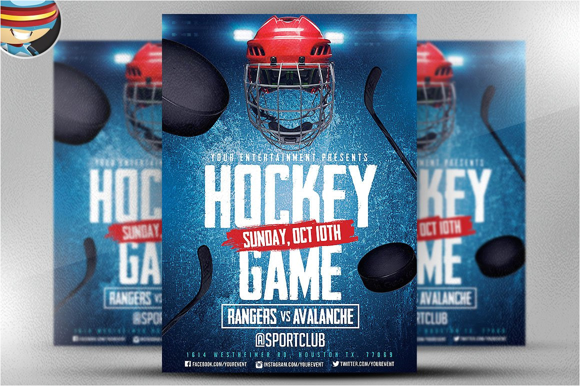 584302 ice hockey flyer template 2