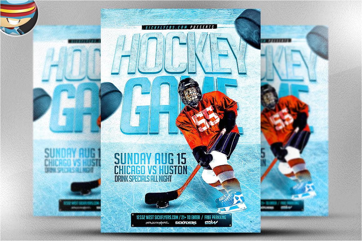 56855 ice hockey flyer template