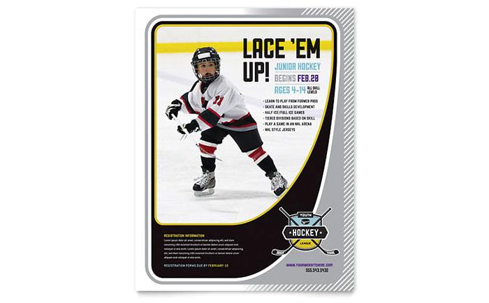 junior hockey camp flyer template design sf0241501