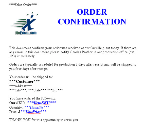 order confirmation templates