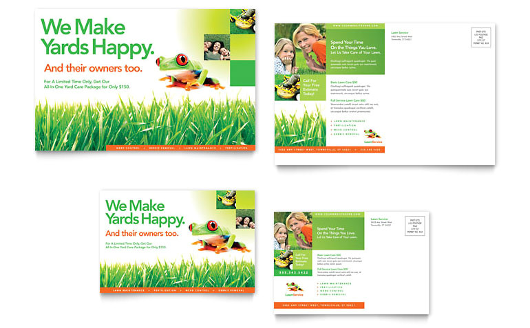 lawn maintenance postcard templates hm0010201d