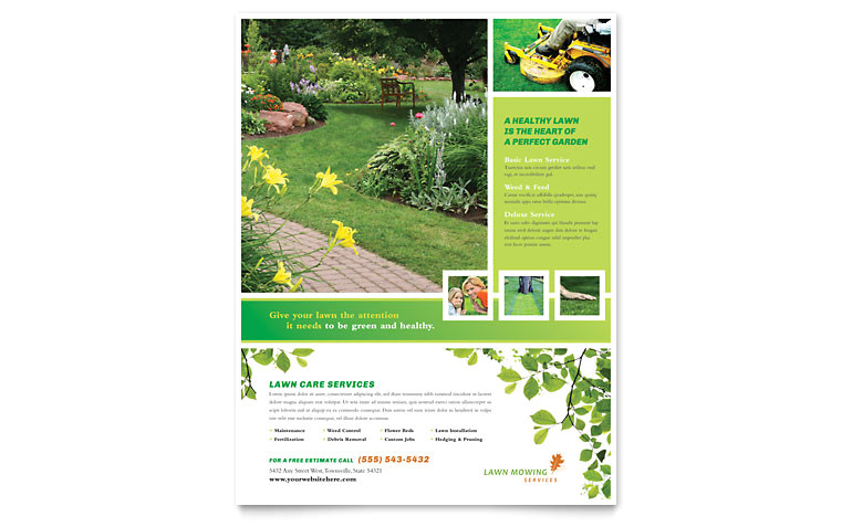 lawn mowing service flyer templates hm0071501d
