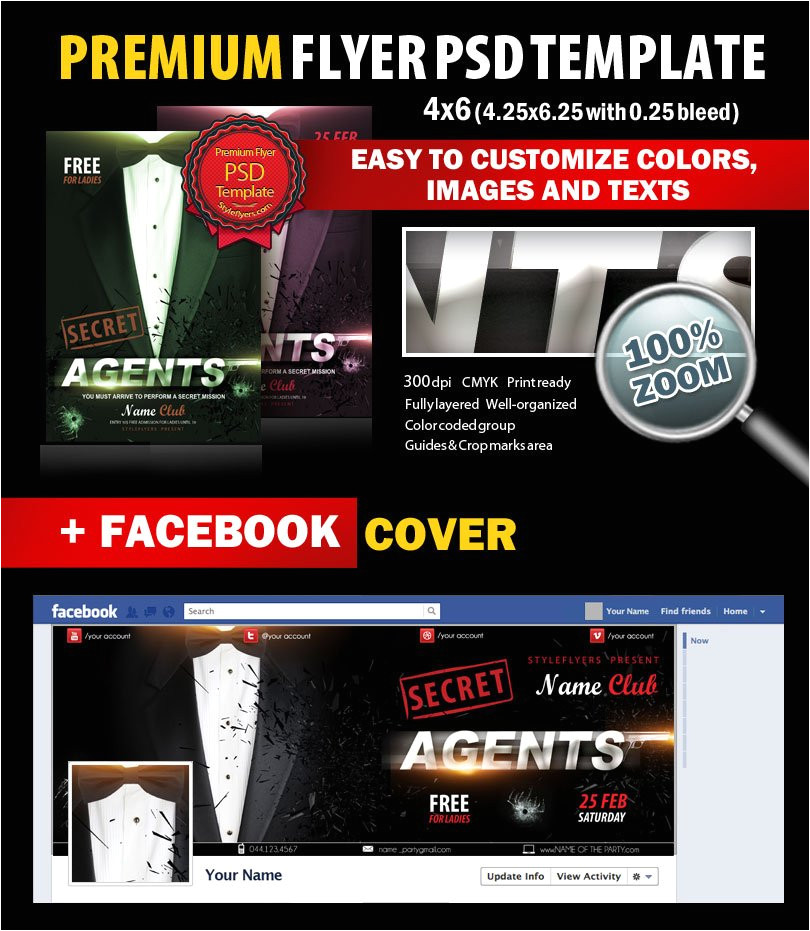 secret agents party psd flyer template with facebook cover