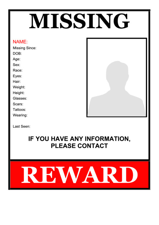 missing person flyer template reward