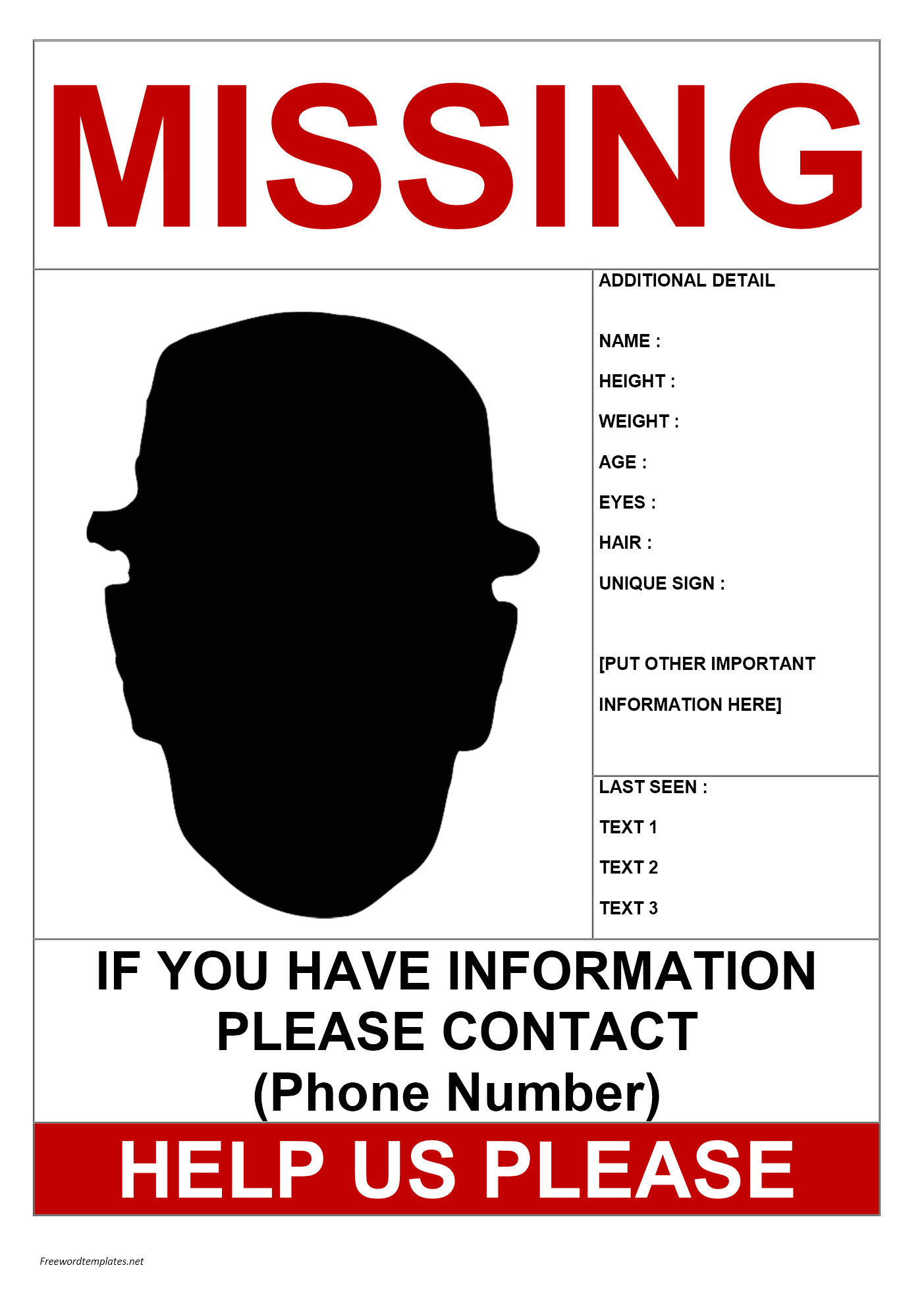 Free Missing Person Flyer Template Missing Person Poster Template