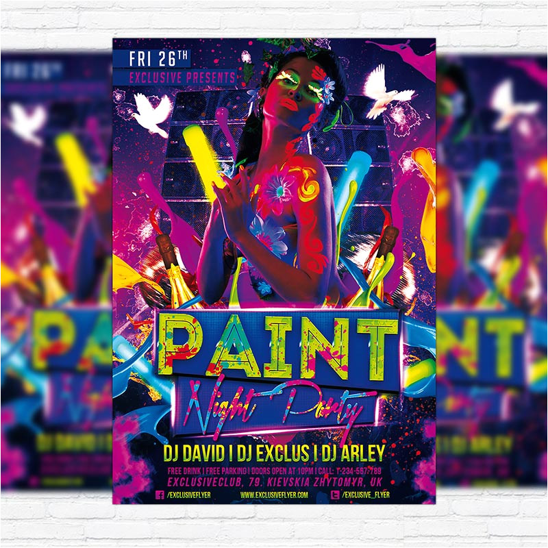 paint night party premium psd flyer template