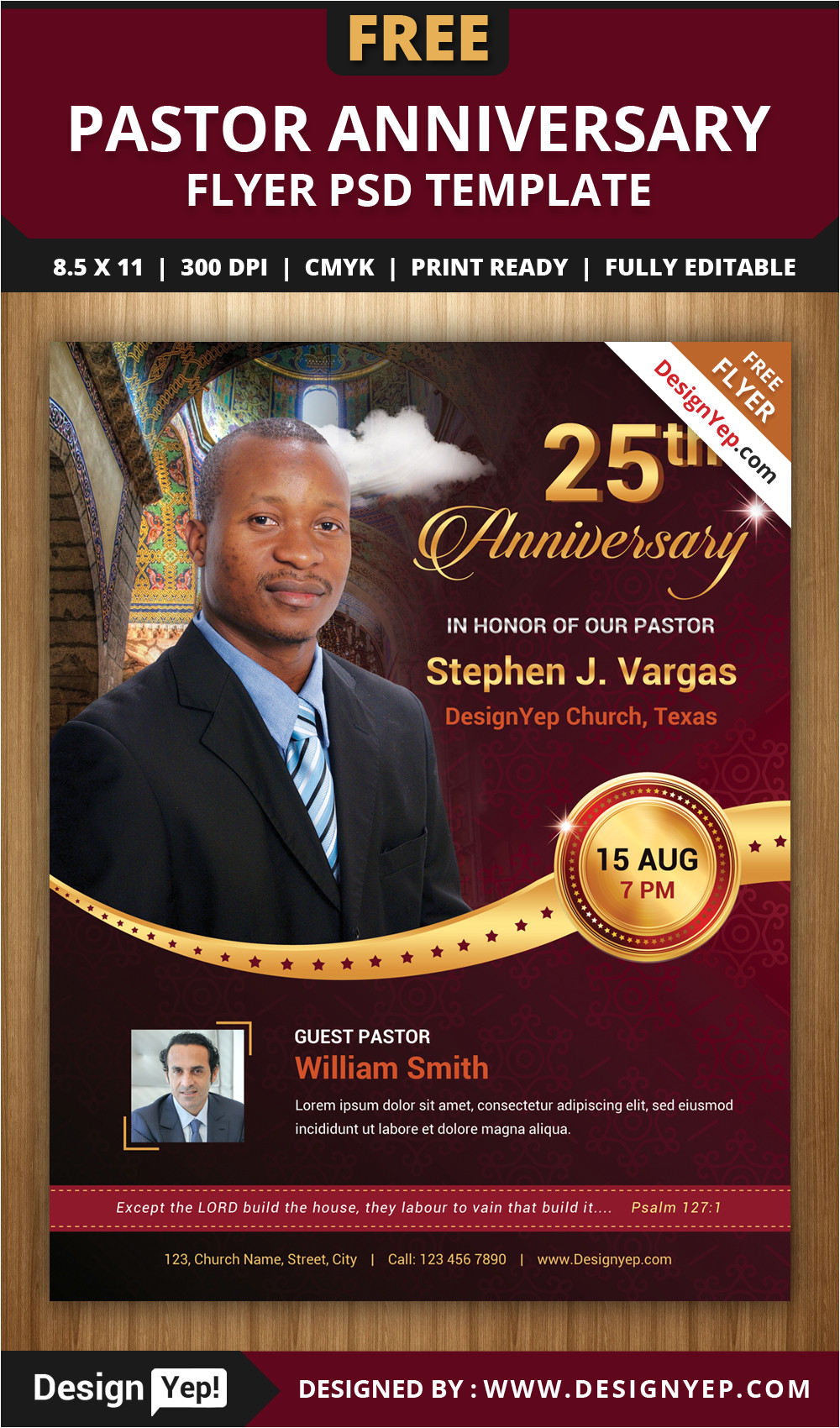 free pastor anniversary flyer psd template