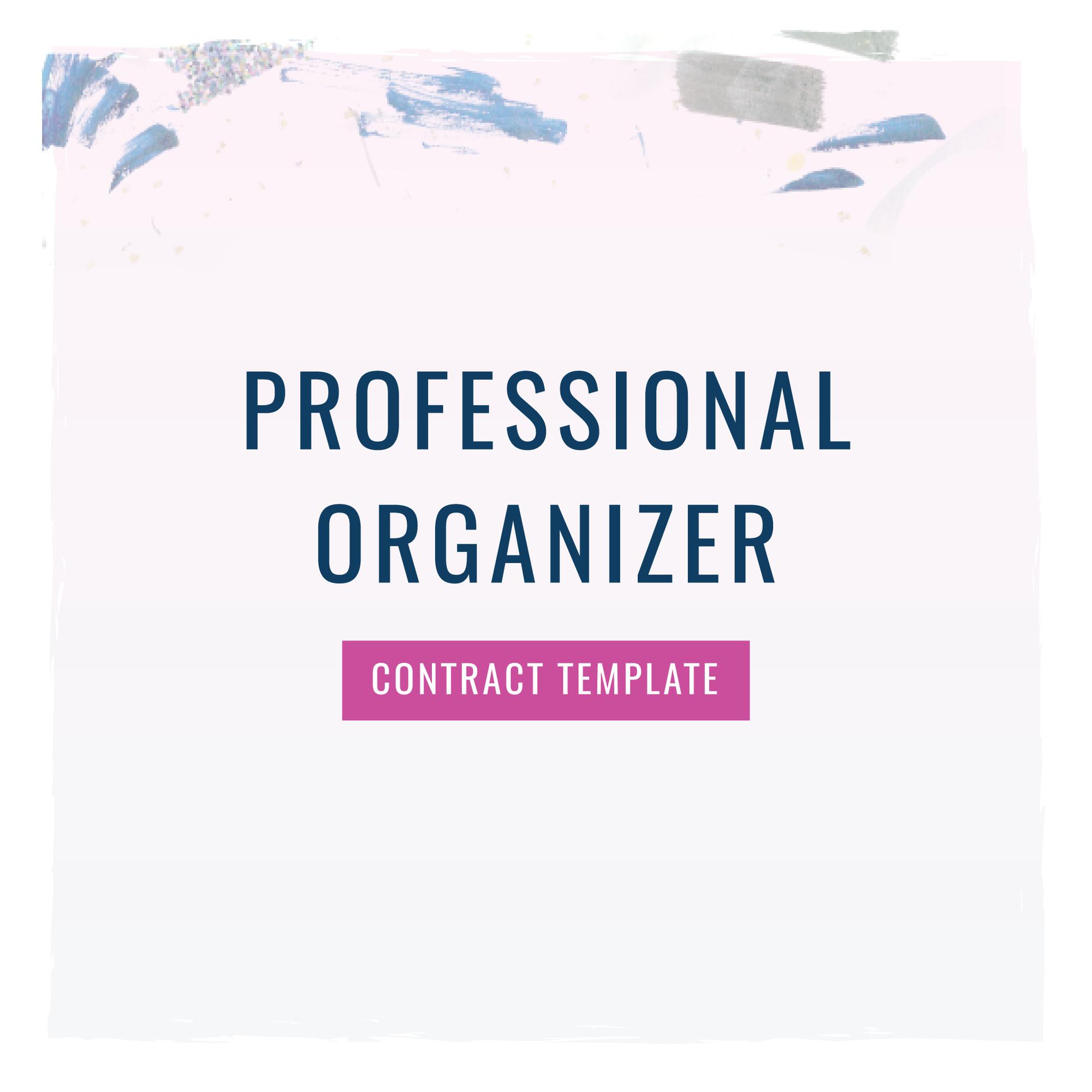 pre order professional organizer contract template