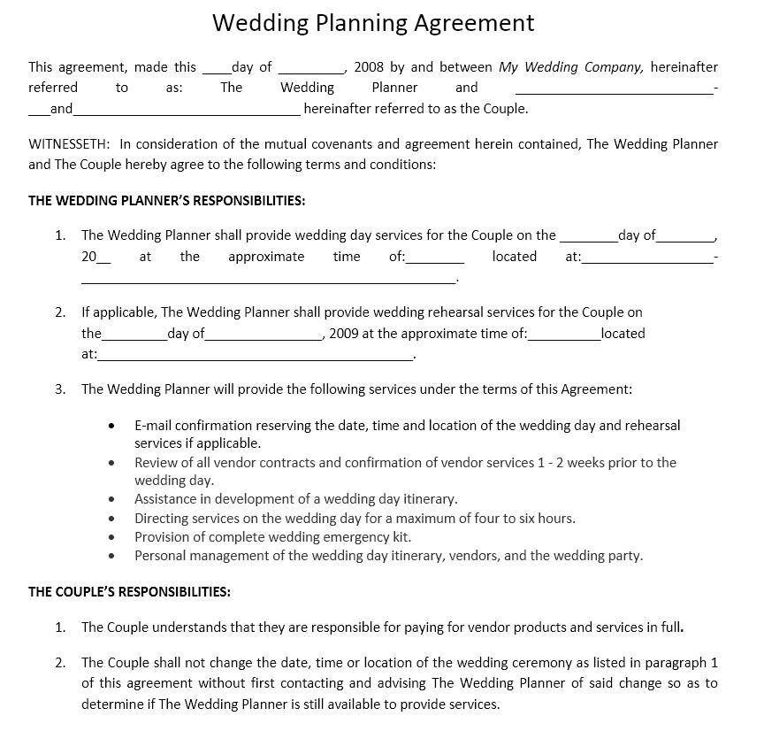 Free Professional organizer Contract Template Wedding event organizer Contract Template