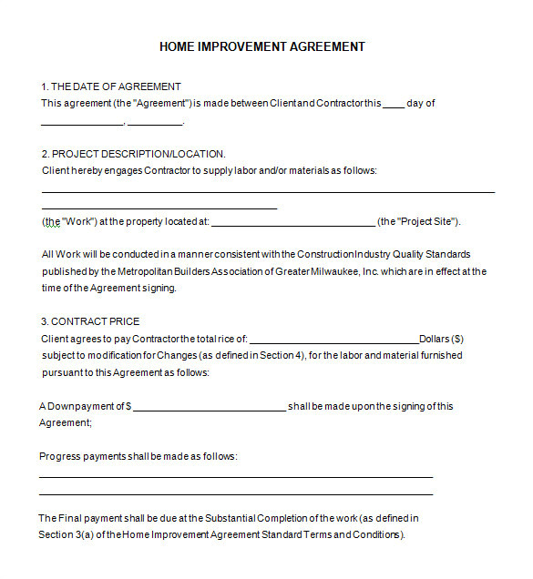 Free Renovation Contract Template 10 Home Remodeling Contract Templates Word Docs Pages
