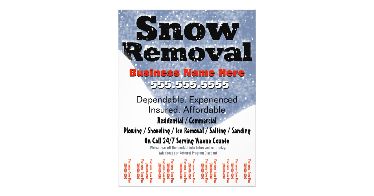 snow removal plowing tear sheet template flyer design 244281697170192524