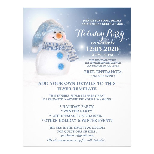 Free Winter Holiday Flyer Templates Snowman Flyer Template Winter and Holiday Party Zazzle