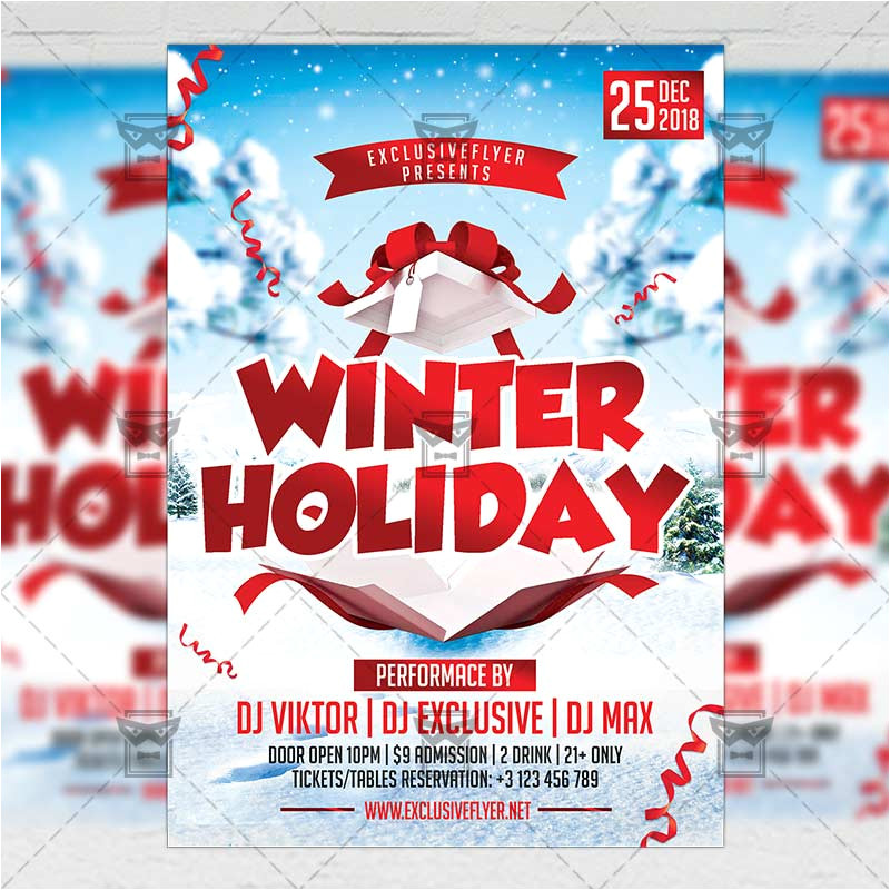 winter holiday flyer seasonal a5 template