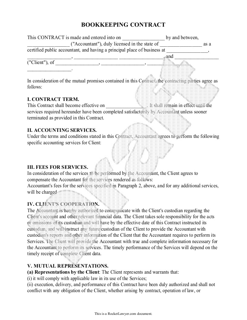 Freelance Bookkeeping Contract Template Sample Bookkeeping Contract form Template Bookkeeping