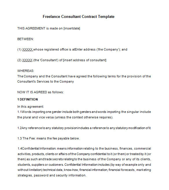 Freelance Consultant Contract Template 16 Consultant Contract Templates Word Google Docs Pdf