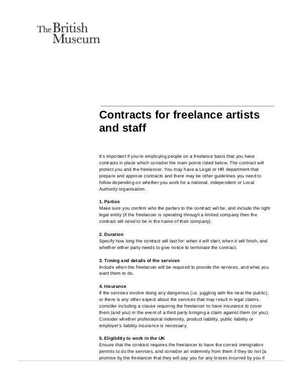 Freelance Consultant Contract Template 7 Sample Freelance Contract Agreement Templates Pages