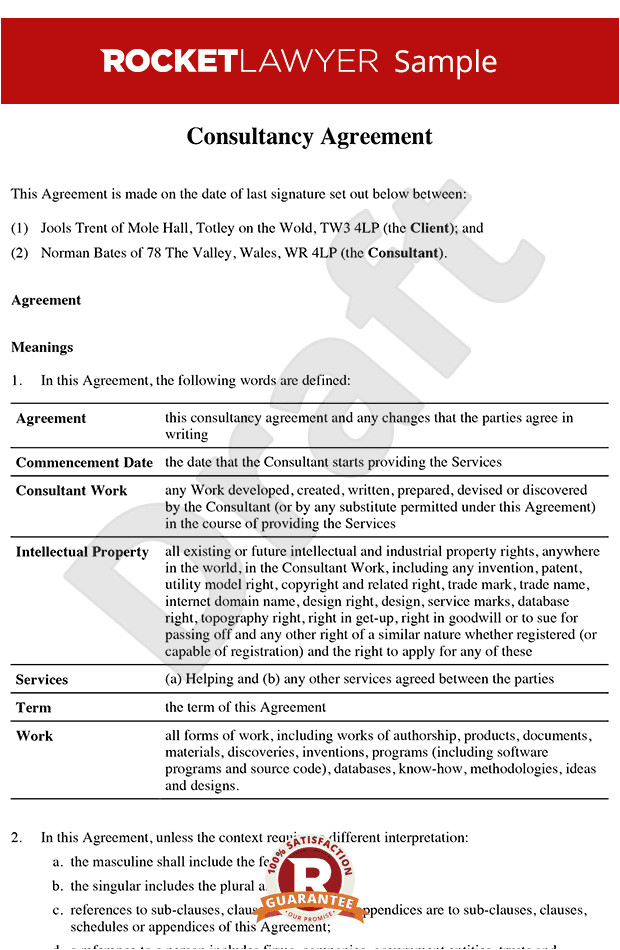 Freelance Consultant Contract Template Consultancy Agreement Template Contractor Agreement