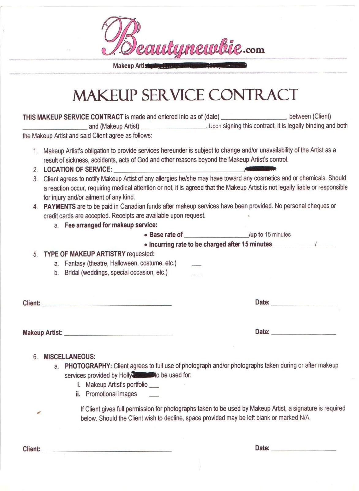 freelance makeup artist contract template