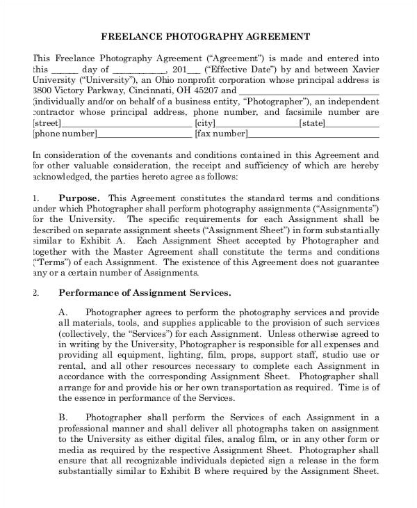 Freelance Photographer Contract Template 13 Sample Freelance Contract Templates Pages Word