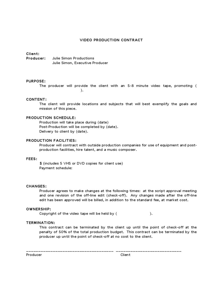 freelance videographer contract template