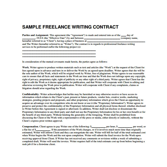 Freelance Writer Contract Template 10 Freelance Contract Templates Samples Examples
