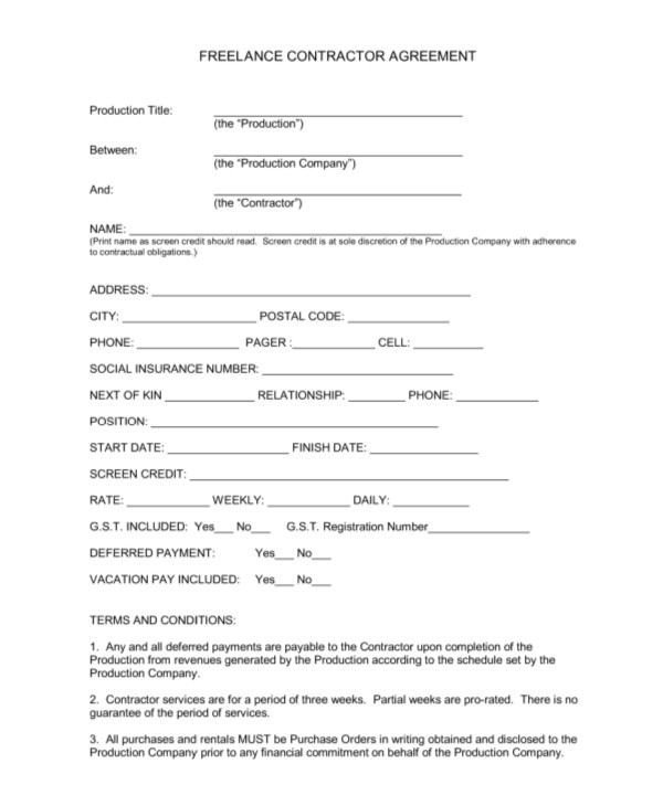Freelance Writer Contract Template 13 Sample Freelance Contract Templates Pages Word